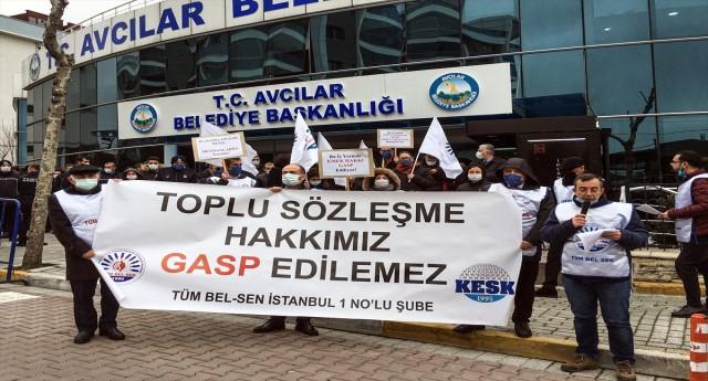 Belediyelerdeki grevlere Avcılar da katıldı
